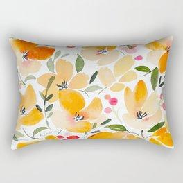 Yellow and Orange Floral Rectangular Pillow