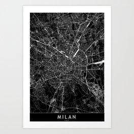 Milan Black Map Art Print