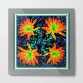 Tropical Yellow Orange Jungle Flowers Grey-black  Art Metal Print