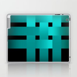 Abstraction .Weave turquoise satin ribbons . Patchwork . Laptop & iPad Skin