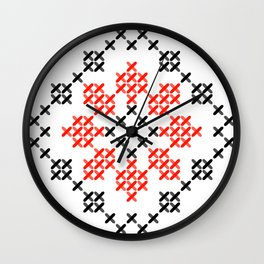 Traditional Romanian flower cross-stitch pattern white Wall Clock