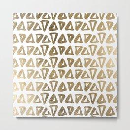 Elegant faux gold modern triangles shapes pattern Metal Print