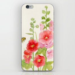 Watercolor Flower Pink Hollyhock and Bee iPhone Skin