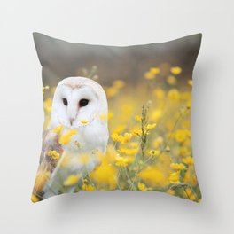 Snowy Owl In A Field Of Yellow Throw Pillow