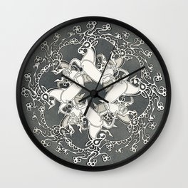 Celtic or Viking Deer Pattern - Siver Grey White Wall Clock