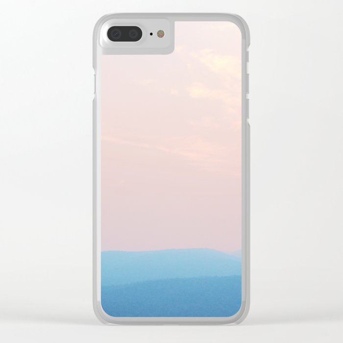 Pastel sunset over the mountains Clear iPhone Case