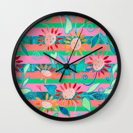 zakiaz flower stripe Wall Clock