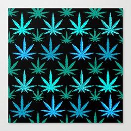 Marijuana Teal Turquoise Weed Canvas Print
