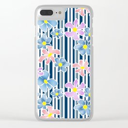 The floral pattern on striped background . Blue and pink flowers . Clear iPhone Case