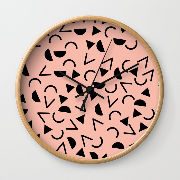 Memphis 80's Design Black and Pink Wall Clock