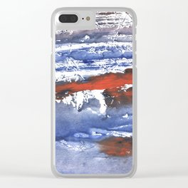 Blue gray stained aquarelle pattern Clear iPhone Case