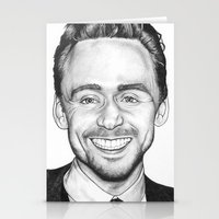 tom hiddleston Stationery Cards featuring Tom Hiddleston by Angie Siketa