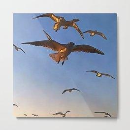 Seagulls In Flight Black Outline Art Metal Print