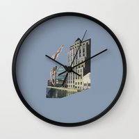 naked Wall Clocks featuring Naked by fabiotir