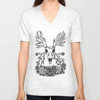 antlers V-neck T-shirts featuring Antlers  by Caroline W Illustration
