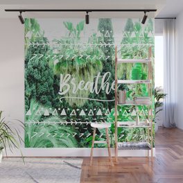 Modern typography breathe green tropical palm tree forest photography white boho geometric Wall Mural