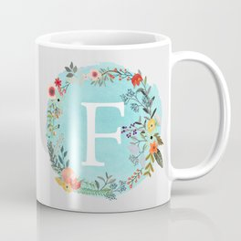 Personalized Monogram Initial Letter F Blue Watercolor Flower Wreath Artwork Coffee Mug