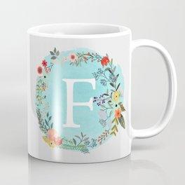 Personalized Monogram Initial Letter F Blue Watercolor Flower Wreath Artwork Coffee Mug