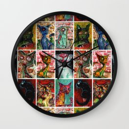 9 Zombie Cats version 2 Wall Clock