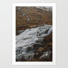 Waterfalls in Glen Etive, Scotland Art Print