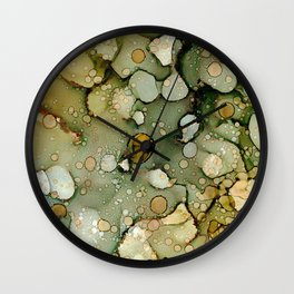 Olive You:Original Abstract Alcohol Ink Painting Wall Clock
