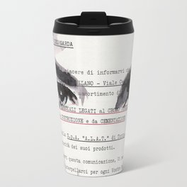 Veronica - ink drawing over vintage commercial invoice Travel Mug