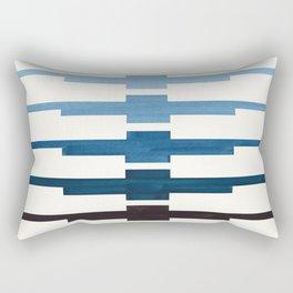 Mid Century Minimalist Ancient Aztec Inca Geometric Pattern Watercolor Blue Green Colorful Gouache P Rectangular Pillow