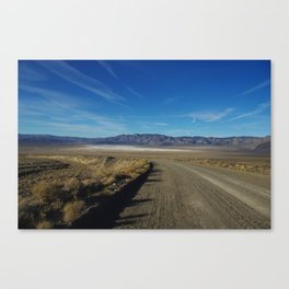 Road to salt flats and mountain chains, Nevada Canvas Print