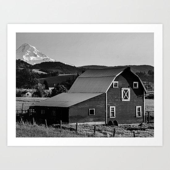 Barn in Hood River Valley, with Mount Hood Art Print
