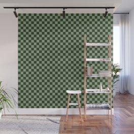 Dark Forest Green Checkerboard Pattern Wall Mural