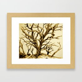 Tree with long twisted bare branches without leaves Hawaii Framed Art Print