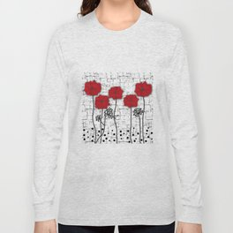 Poppies red n white background . Long Sleeve T-shirt