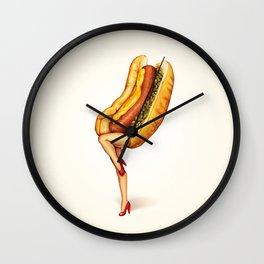 Hot Dog Girl Wall Clock