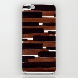 Dark Brown Primitive Stripes Mid Century Modern Minimalist Watercolor Gouache Painting Colorful iPhone Skin