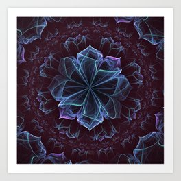 Ornate Blossom in Cool Blues Art Print