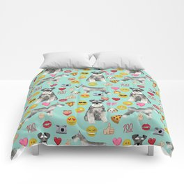 schnauzer emoji dog breed pattern Comforters