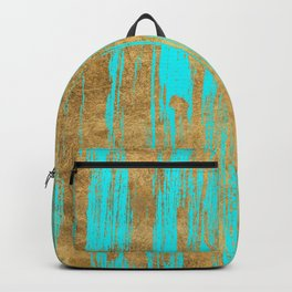 Modern turquoise gold watercolor artistic brushstrokes Backpack