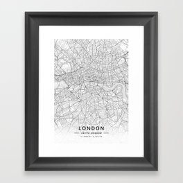 London, United Kingdom - Light Map Framed Art Print