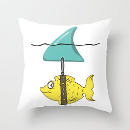 fish disguise shark fin shark joke gift Throw Pillow