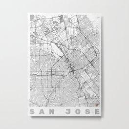 San Jose Map Line Metal Print