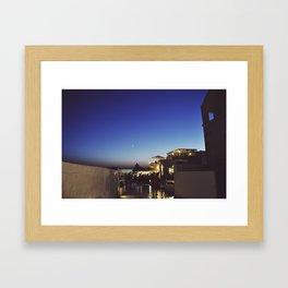 Moonrise over Santorini Framed Art Print