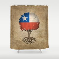chile Shower Curtains featuring Vintage Tree of Life with Flag of Chile by Jeff Bartels