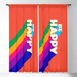 BE HAPPY - rainbow retro typography Blackout Curtain