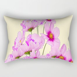 FUCHSIA PINK COSMOS FLOWERS  ON CREAM Rectangular Pillow