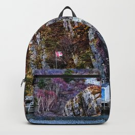 Old Fisherman House on water in Newfoundland, canada Backpack