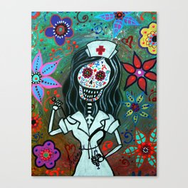 MY FAVORITE NURSE MEXICAN DAY OF THE DEAD PAINTING Canvas Print