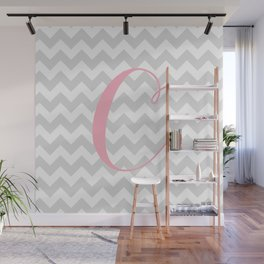 "Gray Chevron with Pink ""C"" Monogram Wall Mural"