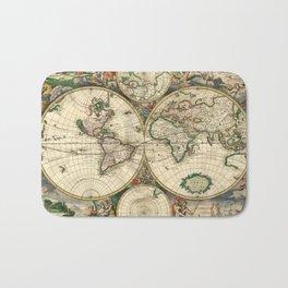 Old map of world hemispheres (enhanced) Bath Mat