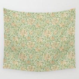 William Morris Vintage Honeysuckle Artichoke Plaster Pink Green Floral Wall Tapestry