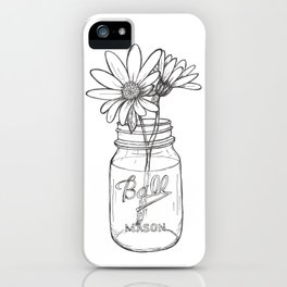 Flowers in a Jar | Mason Ball Jar Sunflowers Daisies iPhone Case